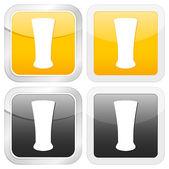 Square icon beer glass — Stockvektor