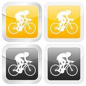 Square icon cyclist — Stock Vector