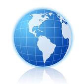 Blue world globe with reflection 3 — Stock Photo