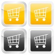 Square icon shopping cart — Stock Vector