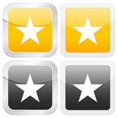 Star icona quadrata — Vettoriale Stock