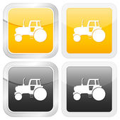 Square icon tractor — Stock Vector