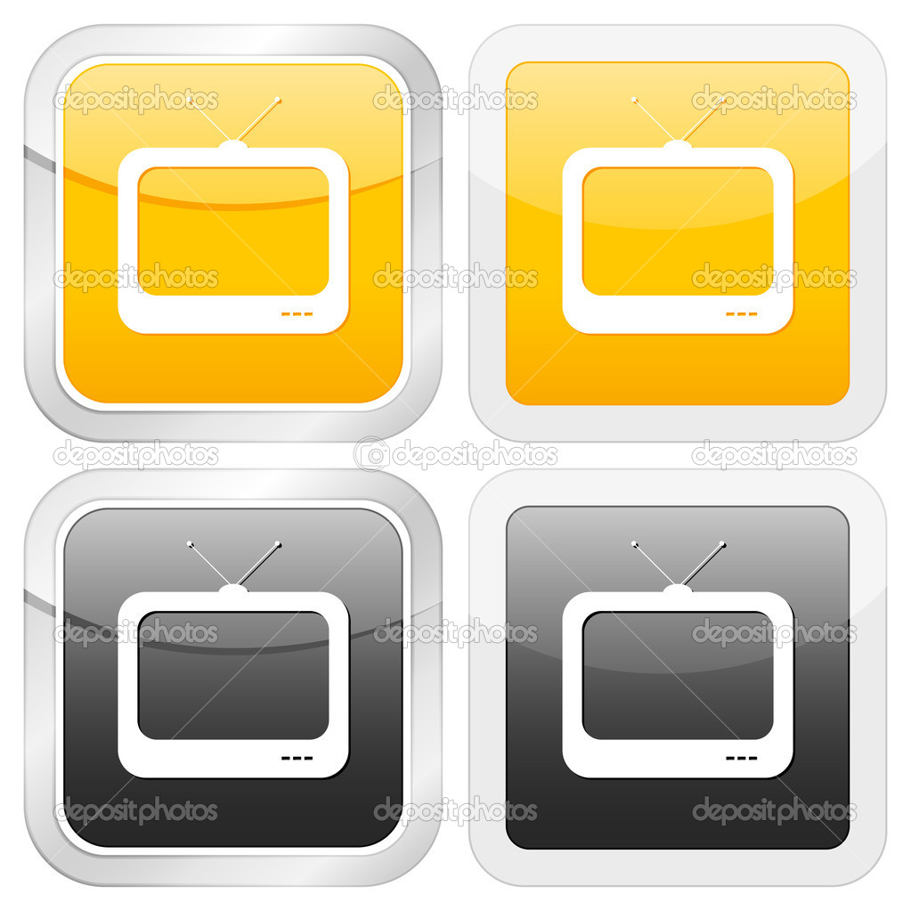 Square icon tv set on white background. Vector illustration. — Stock Vector #5748686