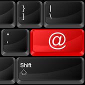 Computer button e-mail — Stock Vector