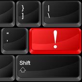 Computer button exclamation mark — Stock Vector