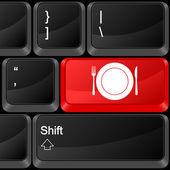 Computer button food — Stock Vector