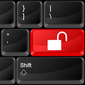Computer button padlock open — Vettoriale Stock