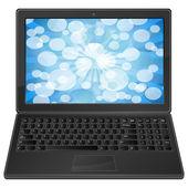 Laptop ve mavi bokeh — Stok Vektör