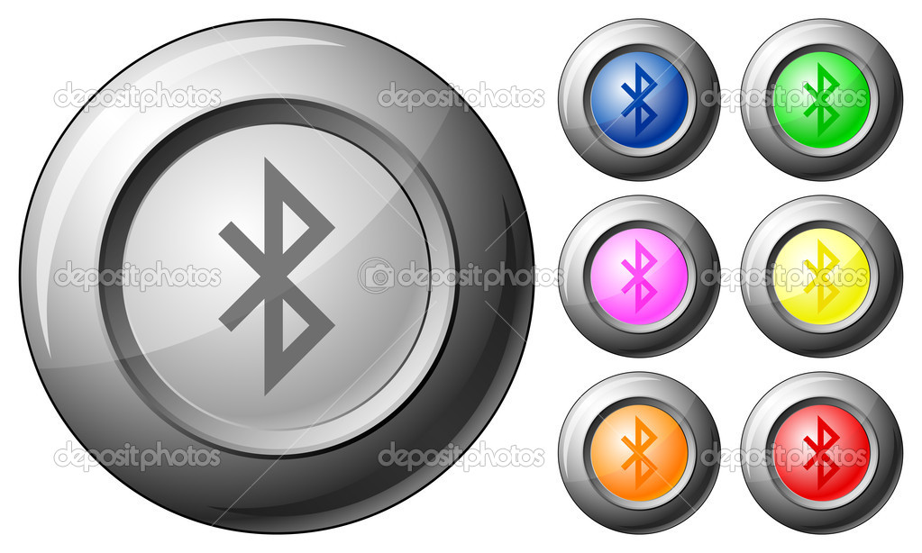 Sphere button bluetooth set on a white background. Vector illustration. — Stock Vector #6471658