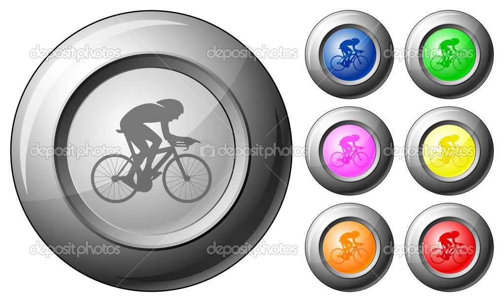 Sphere button cycling set on a white background. Vector illustration. — Stock Vector #6471716