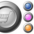 Sphere button shopping cart symbol — Stock Vector