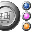 Sphere button shopping cart — Stock Vector