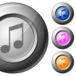 Sphere button music note - Image vectorielle