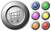 Sphere button shopping cart — Stock Vector