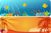 Summer banners with underwater background and palm trees — Stock Vector