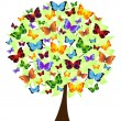 Stock Vector: Flower tree with colored butterflies