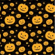 Vector de stock : Seamless pattern with pumpkins on background.