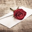 Red Rose and Letter — Stock Photo