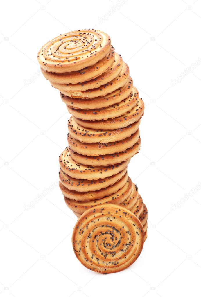 Shortbreads cookies tower with poppy isolated on white — Stock Photo #6403330