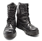 Black Leather Army Boots — Stock Photo