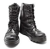 Bottes en cuir noir de l'armée — Photo