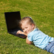 Child with laptop on green grass. — Stock Photo #5736082