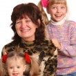 Happy grandmother and two granddaughter. — Stock Photo #5736233