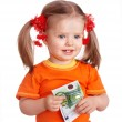 Happy child with money euro. — Stock Photo
