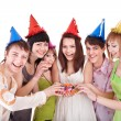 Stock Photo: Group of teenagers celebrate birthday.