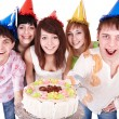 Group eat cake. — Stock Photo