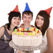 Group of teenagers celebrate happy birthday. — Stock Photo #5736475