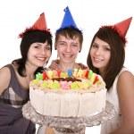 Group of teenagers celebrate happy birthday. — Stock Photo