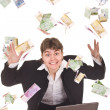 Business women with flying money. — Stock Photo #5736535