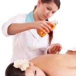 Massage of beautiful young woman. — Stock Photo