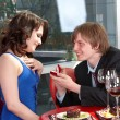 Stockfoto: Mpropose marriage to girl.