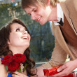 Stock Photo: Man propose marriage to beautiful girl.