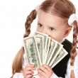 Sad child with money dollar. — Stock Photo #5737029
