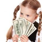 Sad child with money dollar. — Stock Photo #5737029