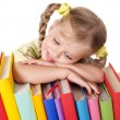 Child holding pile of books. — Foto Stock