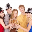 Foto de Stock  : Group young drinking champagne.