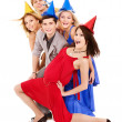 Group of young in party hat. — Foto de Stock
