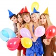 Group of young in party hat. — Foto Stock