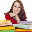 Girl in glasses with stack book . - Stock Photo