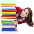 Girl with stack color book . — Stock Photo #5737535