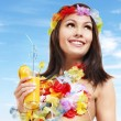 Young woman in costume of hawaii. — Stock Photo #5737599