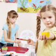 Children painting in preschool. — Stock Photo
