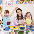 Child painting in preschool. — Stock Photo #5737626