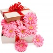 Gift box with flowers. — Foto Stock