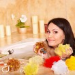 Woman take bubble  bath. - Zdjęcie stockowe