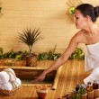 Bamboo massage at spa . - ストック写真